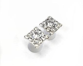 Square Diamante Ear Plugs