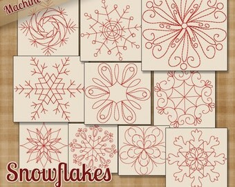 Snowflakes Redwork Embroidery Machine Designs - 10 Patterns 2 Sizes Each INSTANT DOWNLOAD - Snow Snowmen Winter Janome Brother Bernina