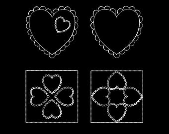 HEARTS and SCALLOPS 4 Machine Embroidery Stipple Designs in 5 sizes.
