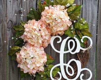 Summer Wreath,Wreath for Front Door,Flower Wreath,Pink/Blush Wreath,Wedding,Year Around Wreath,Hydrangea Wreath,Wreath,Grapevine Wreath