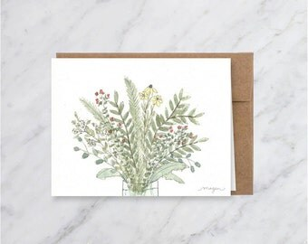 Bouquet Flower Blank Card- Illustration- Watercolor