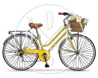 A0089_yellow - Vintage Bike, Retro Bicycle, Flower Basket - Digital Print, Instant Download. Printable Illustration. PNG, JPG files 8x10''.