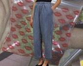Vintage High Rise Trousers   Wide Leg Stripe Pants   Denim Pants   Bobby Brooks   L