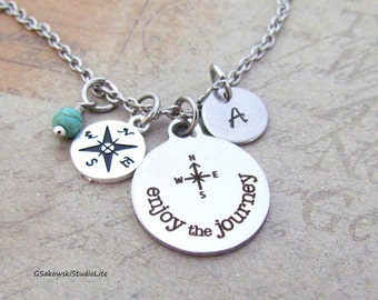 Enjoy the Journey Compass Charm Personalized Hand Stamped Initial Birthstone Journey Compass Charm Necklace
