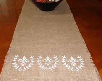 Fleur-de-lis Wreath Burlap Table Runner
