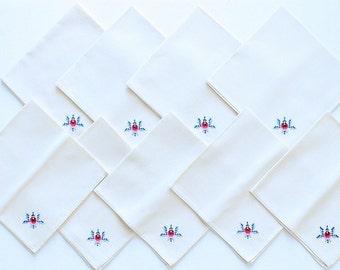 Handmade Vintage Cross Stitch Flower Napkin Set 8 (9 Napkins Included)
