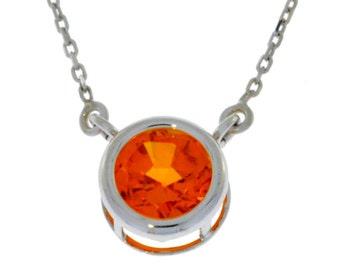 Orange Citrine Round Bezel Pendant .925 Sterling Silver