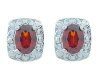 3 Ct Garnet Oval Stud Earrings .925 Sterling Silver