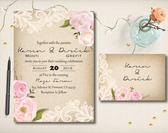 Wedding Invitation, Rustic Kraft Invite, Floral Lace Invitation, Modern Rustic Peonies Lace, DIY Printable, Budget Invitation Prints (CW8)