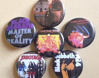 "Black Sabbath pin back buttons 1.25"" set of 6"