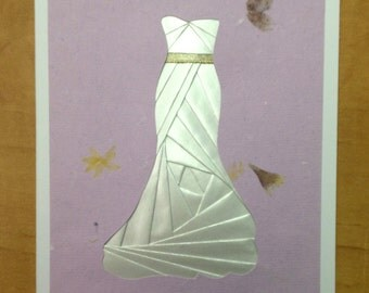 Iris Folded White Dress/ Wedding Dress Card