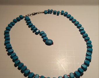 Women's Blue Turquoise Necklace 18""