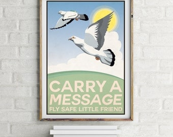 Carry a Message, pigeon propaganda Giclee Print