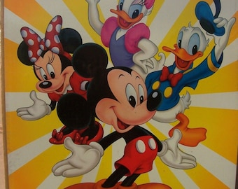 "Disney Mickey Minnie Mouse Donald Daisy Duck 18"" by 24""  New in shrink wrap poster Vintage early 1990's"