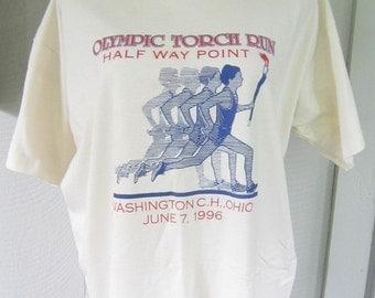 Vintage 1996 Atlanta Olympic Torch Run Tee Shirt.  Atlanta Olympics Half Way Point T-Shirt.