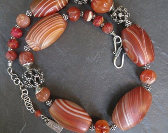 Banded Agate, Carnelian and Silver Choker Necklace