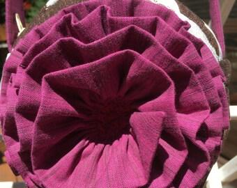 """Rosette Purse, Cross body 6"""" round, Kimono Garden"""