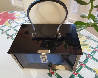 50s Black  Lucite Stainless Steel Box Purse with Filigee Edging