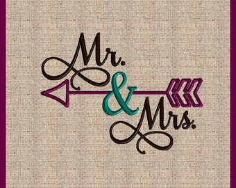 Mr and Mrs Embroidery Design Mr and Mrs with Arrow Embellishment  Emboridery Design Arrow Embroidery Design Machine Embroidery Design