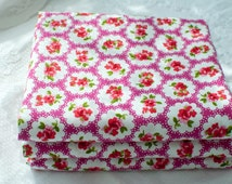 Fat Quarter ~ Floral Cotton Fabric ~ Flowers ~ Roses ~ Fabric ~ Dark Pink Cotton ~ Cerise Pink Fabric ~ Quilting Fabric