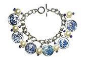 BLUE WILLOW Charm Bracelet Silver Pltd