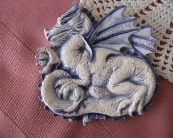 Purple and Blue Dragon Teabag Holder, Spoon Rest or Trinket Dish