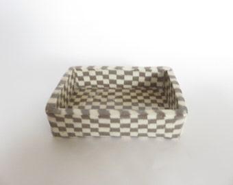 Ceramic tray, soap dish, small plate, Nerikomi, Ceramics and Pottery, Beige, Brown, Ichimatsu