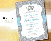 Baby Shower Invitation - Prince Crown for Boy and Silver Glitter- DIY Printable - Baby Blue