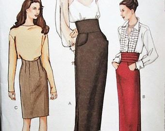 STUNNING Vintage Very Easy Vogue  7508 Straight Skirts Pattern  Classy Evening Day UNCUT Factory Folded Size 14-16-18 Figure Flattering