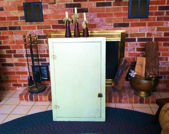 Vintage 1940's Salvaged Built in Wall Cabinet with Shelves with Original Paint