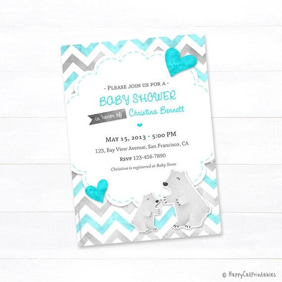POLAR BEAR Baby Shower Invitation Printable Baby Shower