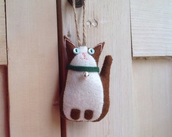 Hanging Felt Little Brown Cat
