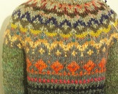 Handmade Icelandic style bright and colourful double wool sweater