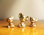 Vintage Brass Mice Figurines, Brass Figurines, Brass Mouse Figures, Brass Animal Collectible, Three Mice Set