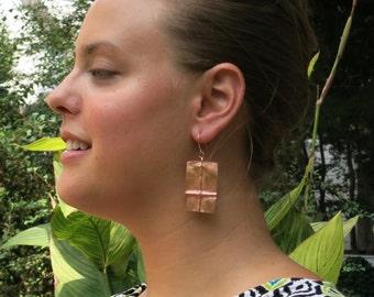 """Copper """"window pane"""" earrings."""