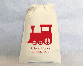 """30 Train favors, choo choo train,  Train Party Favor Gift Bags - Muslin Cotton Drawstring Gift Bags 4""""x6"""""""