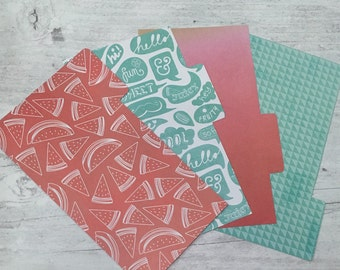 Filofax Dividers - Personal Size - Watermelon Teal Theme - set of 4