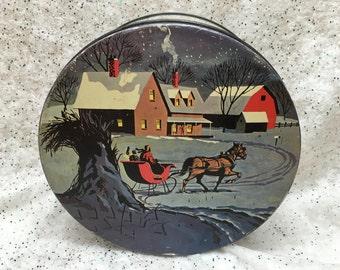 Vintage Antique Christmas Tin Winter Farmhouse Blue