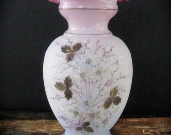 Vintage Hand Blown Pink Bristol Vase with Ruffled Rim