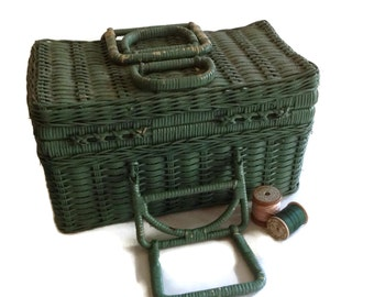 Vintage Wicker Sewing Basket Green Rattan Handled Storage Basket Shabby Chic Home Decor Picnic Basket Farmhouse Decor