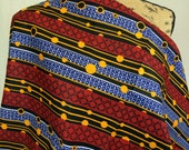 Made in Mali--African Wax Print Fabric--Ankara Fabric--African Print--Red, Blue, & Yellow Stripes and Dots--African Fabric by the HALF YARD