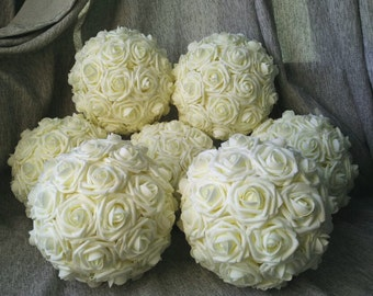 """Set of 6 Ivory Kissing Balls 10"""" Foam Rose Pomanders For Wedding Centerpieces Bridal Baby Shower Decorations"""