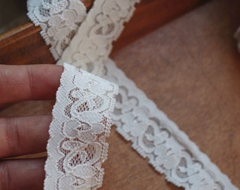 2 yards ivory elastic lace trim, stretch lace lace trimming