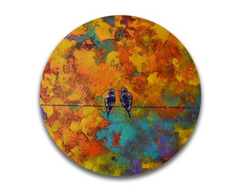 Love birds painting palette knife painting original colorful wall art textured wall art work