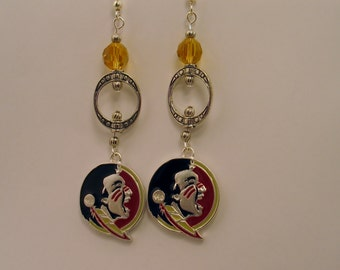 FSU Earrings, FSU Seminole Earrings, Seminole Earrings, Florida State Logo Earrings, FSU Chandelier Earrings, Florida State Jewelry11