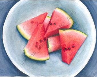 Watercolour & Pencil WATERMELON Print A4 By VMS (From Original Artwork)