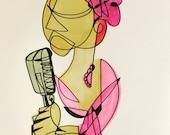 Veneta Sings Tonight -14 x 17 ink and watercolor piece