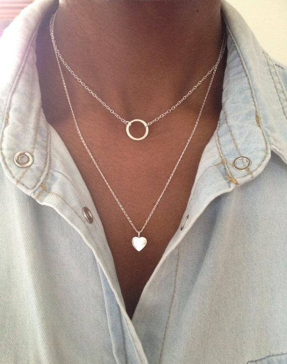 Sterling Silver 2 Layer Necklace Eternity Circle Heart