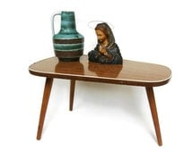 Mid Century Modern plant stand, small coffee table, tripod table with formica from the 60s