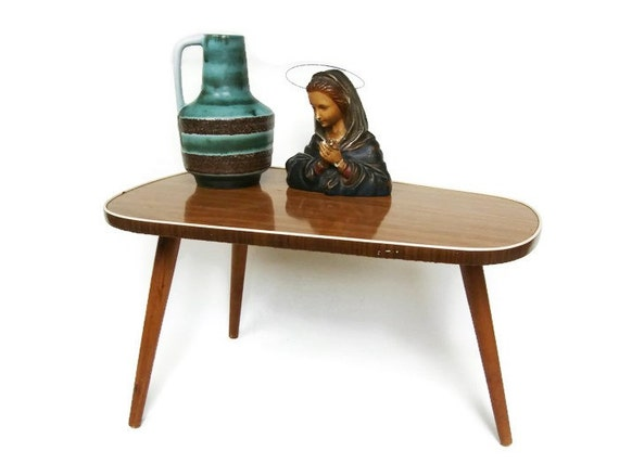 Mid Century Modern plant stand, small coffee table, tripod table with ...